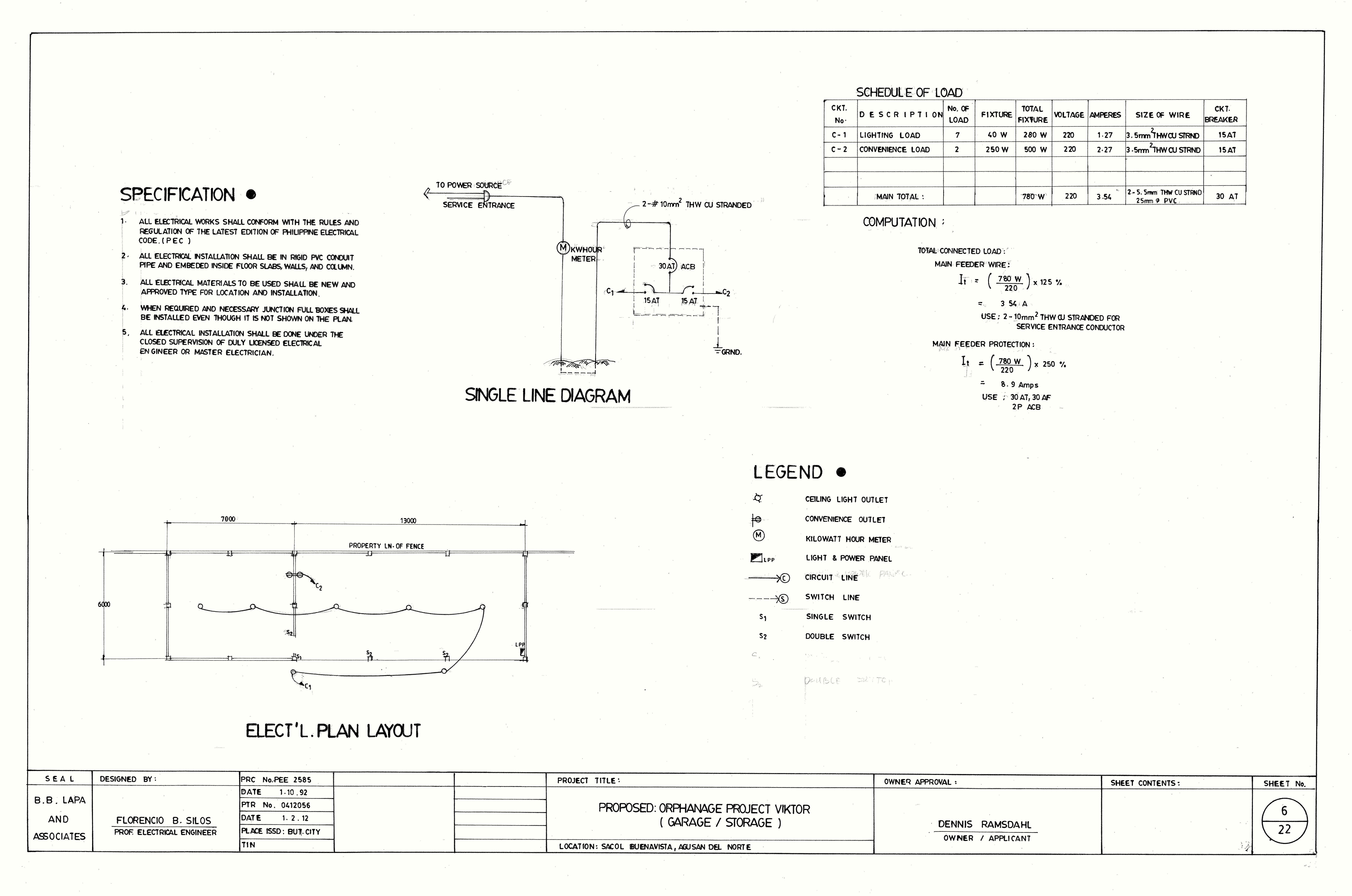 electrical plan for garage and storage building